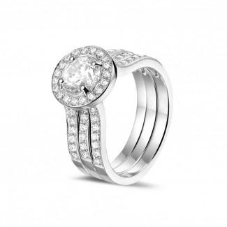 钻石戒指 - 1.00克拉白金单钻戒 – 戒托密镶碎钻