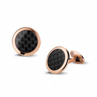 钻石袖扣 - 玫瑰金石碳色袖扣