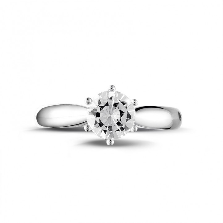 0.90克拉白金单钻戒指