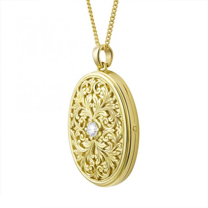 设计系列0.40克拉黄金钻石照片盒式吊坠项链