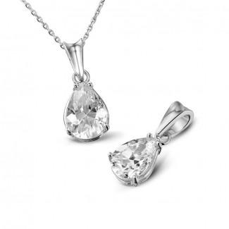 钻石项链 - 1.00克拉梨形钻石铂金吊坠
