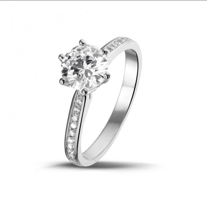 1.25克拉白金单钻戒指 - 戒托密镶小圆钻