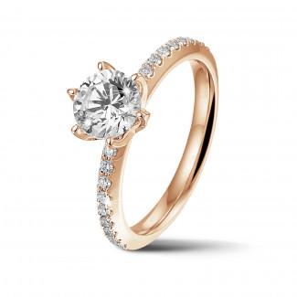 钻石戒指 - BAUNAT Iconic 系列 1.00克拉玫瑰金圆钻戒指 - 戒托半镶小钻