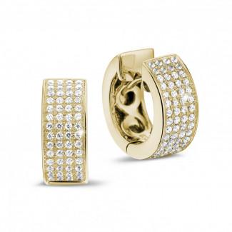 黄金钻石耳环 - 0.75克拉黄金密镶钻石耳环