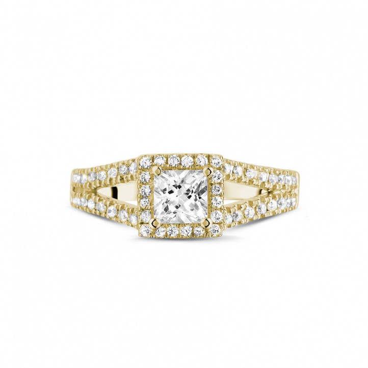 0.50克拉黄金公主方钻戒指 - 戒托群镶小钻