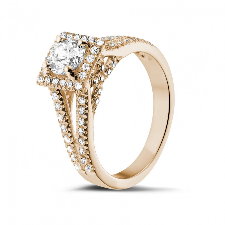 0.70克拉玫瑰金单钻戒指 - 戒托群镶小钻
