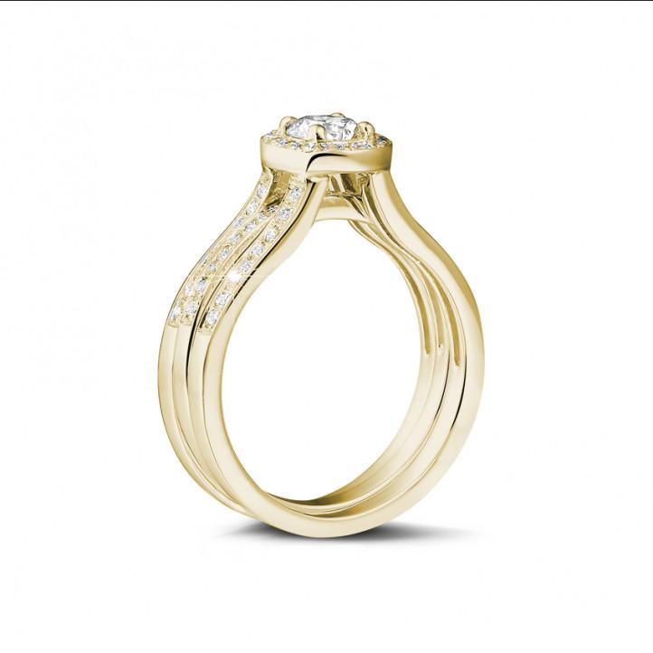 0.70克拉黄金单钻戒 – 戒托密镶碎钻