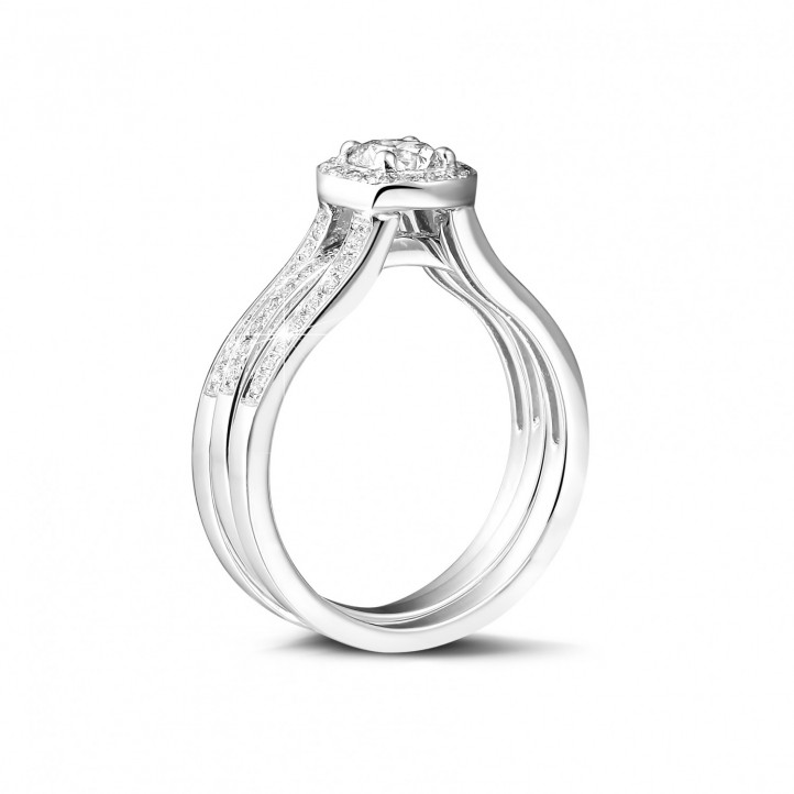 0.70克拉铂金单钻戒 – 戒托密镶碎钻