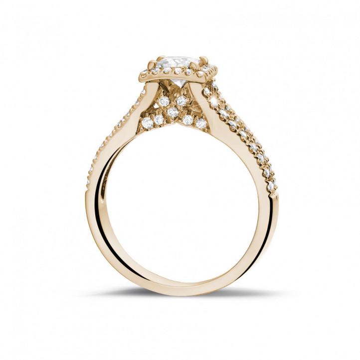 0.50克拉玫瑰金公主方钻戒指 - 戒托群镶小钻