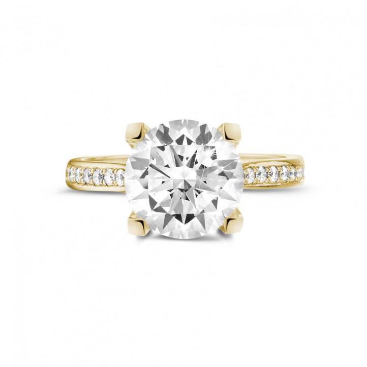 3.00克拉黄金六爪钻石戒指 - 戒圈密镶小钻