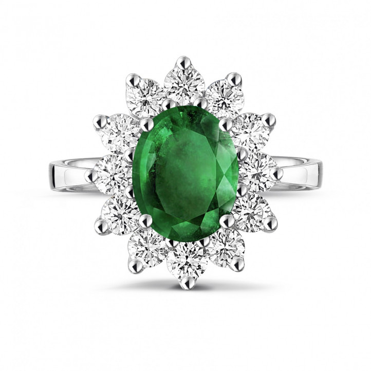 白金祖母绿宝石群镶钻石戒指