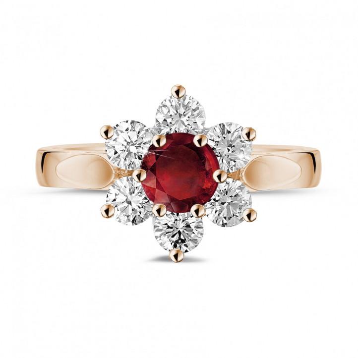 花之恋圆形红宝石玫瑰金钻石戒指