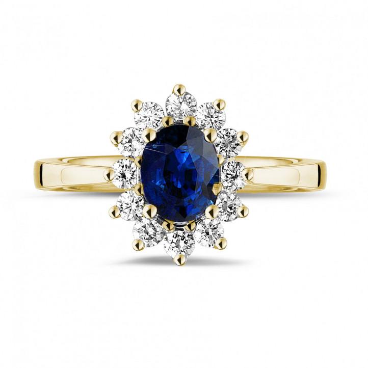 黄金蓝宝石群镶钻石戒指