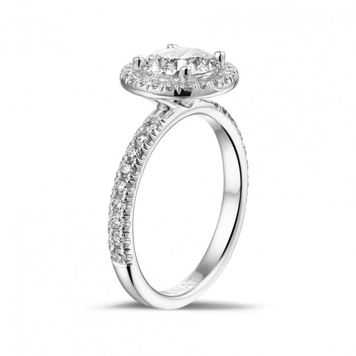 1.50 克拉Halo光环围镶单钻白金戒指