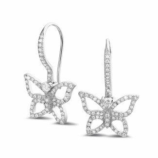 白金钻石耳环 - 设计系列0.70克拉白金密镶钻石蝴蝶耳环