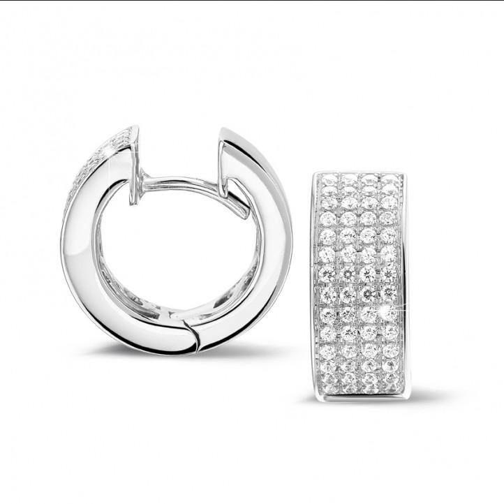 0.75克拉白金密镶钻石耳环