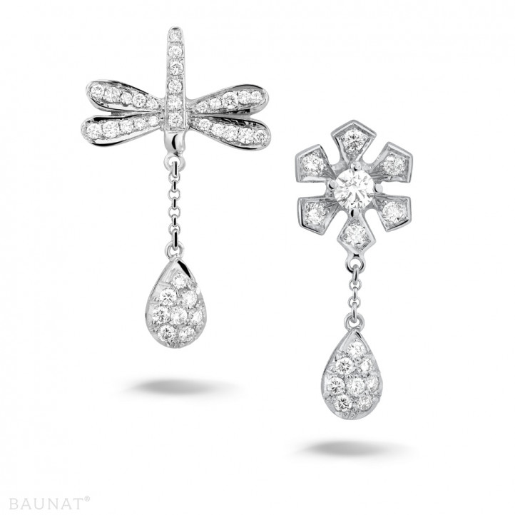 设计系列0.95克拉白金钻石蜻蜓舞花耳环