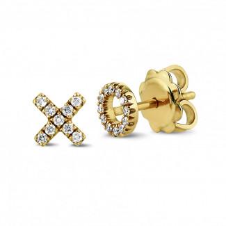 黄金钻石耳环 - 字母XO黄金钻石耳环