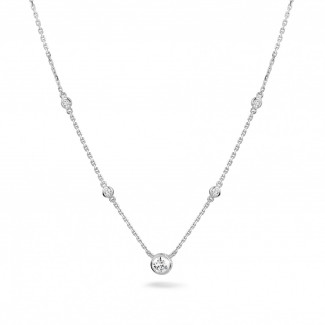 白金钻石项链 - 0.45克拉白金钻石吊坠项链