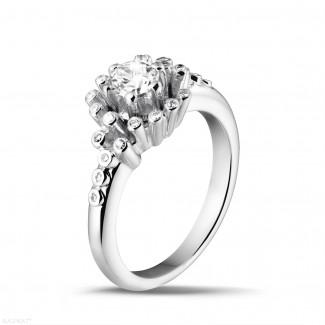 白金钻石求婚戒指 - 设计系列0.50克拉白金钻石戒指