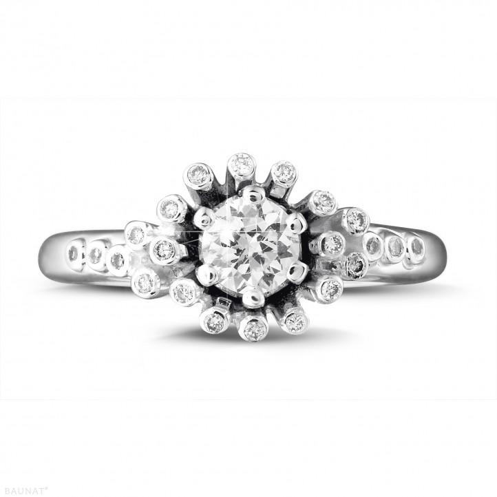设计系列0.50克拉白金钻石戒指