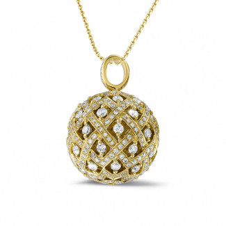 黄金钻石项链 - 2.00克拉黄金钻石吊坠项链