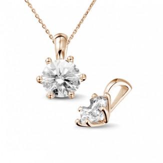 - 1.50 克拉圆形钻石玫瑰金吊坠