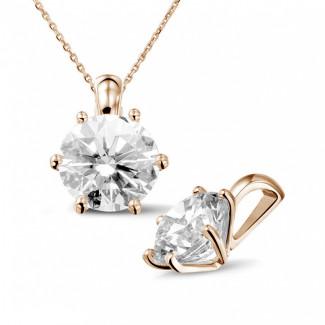 3.00 克拉圓形鑽石玫瑰金吊墜