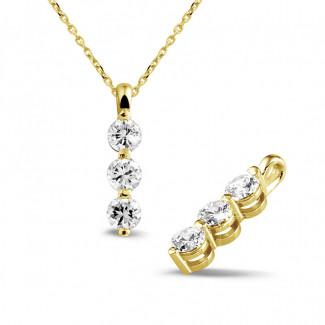 钻石项链 - 三生石1.00克拉三钻黄金吊坠