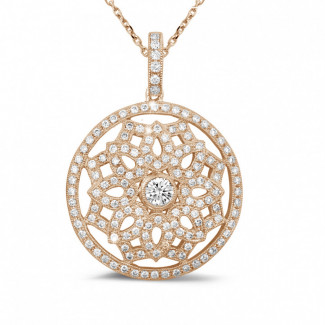 玫瑰金钻石项链 - 1.10 克拉玫瑰金钻石吊坠