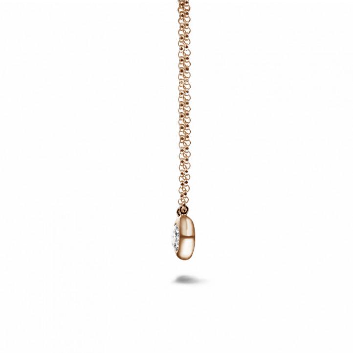 0.30克拉玫瑰金钻石吊坠项链