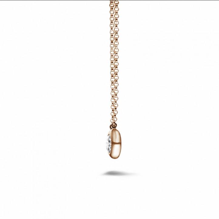 0.50克拉玫瑰金钻石吊坠项链