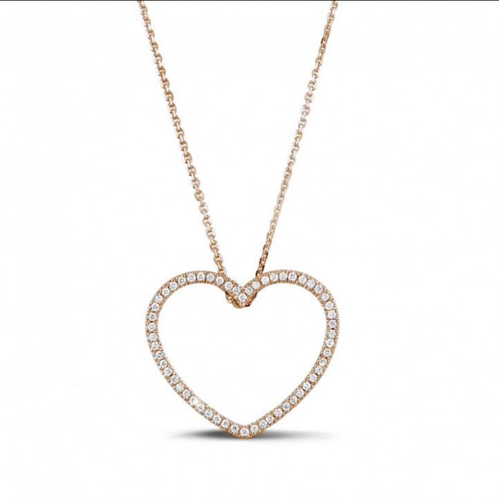0.75克拉玫瑰金钻石心形吊坠项链