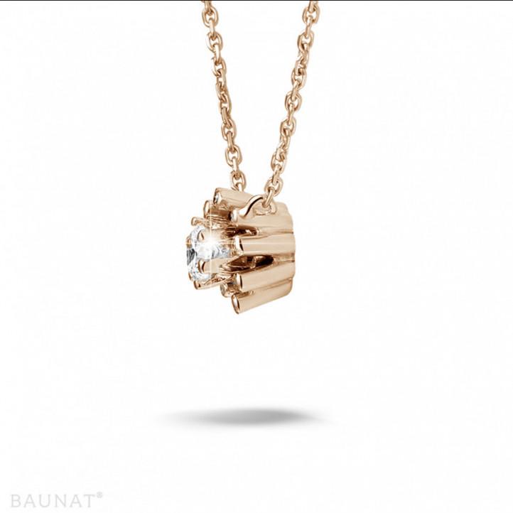 设计系列 0.25克拉玫瑰金钻石吊坠项链