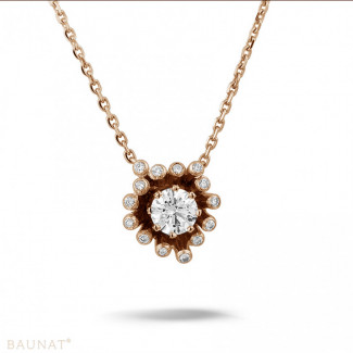 玫瑰金 - 设计系列 0.75克拉玫瑰金钻石吊坠项链