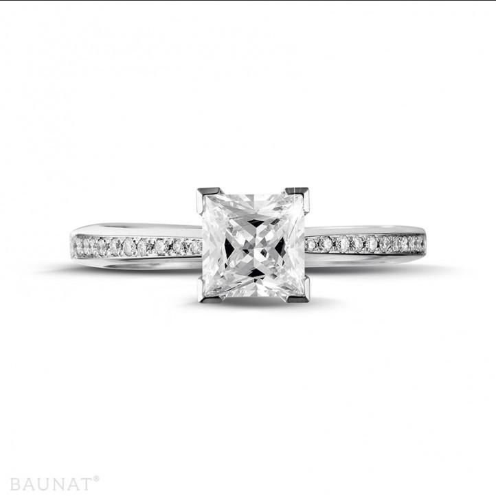 1.25克拉铂金公主方钻戒指 - 戒托群镶小钻