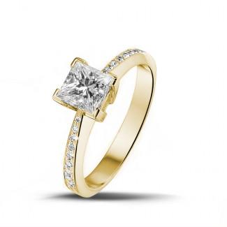 黄金钻石求婚戒指 - 1.00克拉黄金公主方钻戒指 - 戒托群镶小钻