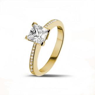 1.50克拉黄金公主方钻戒指 - 戒托群镶小钻