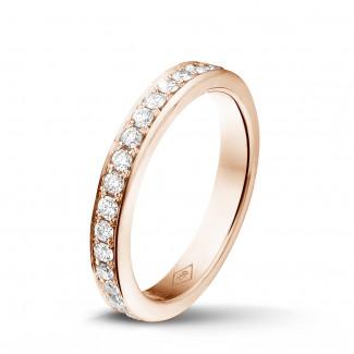 玫瑰金钻石婚戒 - 0.68 克拉玫瑰金密镶钻石戒指