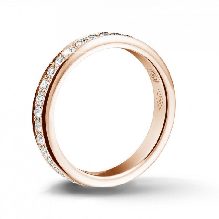 0.68 克拉玫瑰金密镶钻石戒指