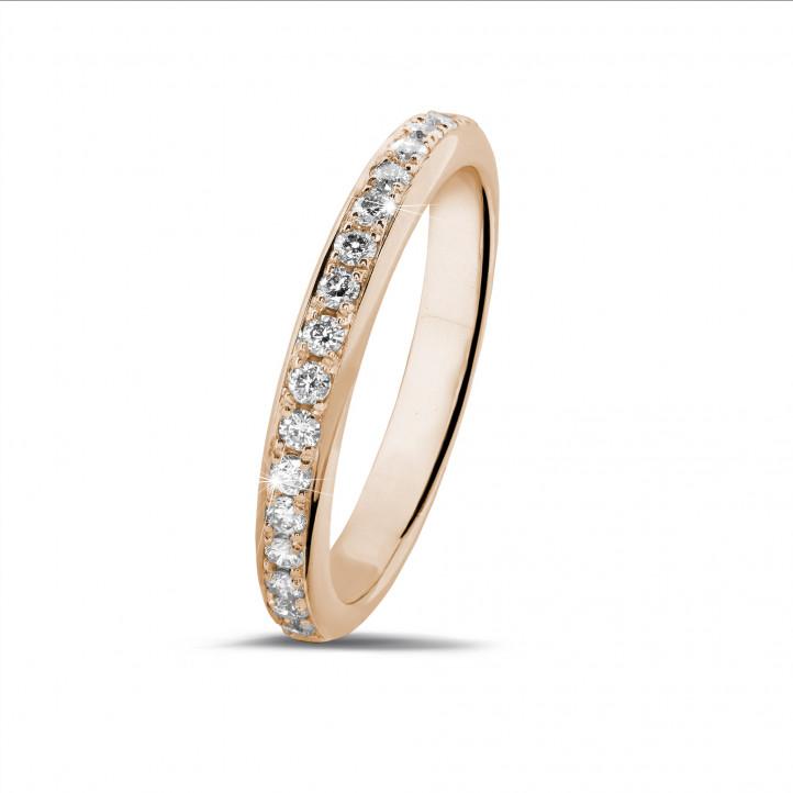 0.30克拉玫瑰金密镶钻石戒指(半环镶钻)