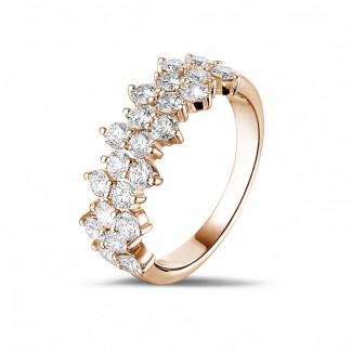 玫瑰金钻石婚戒 - 1.20克拉玫瑰金密镶钻石戒指