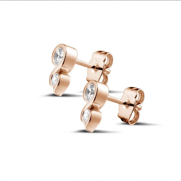 0.44克拉玫瑰金钻石耳钉