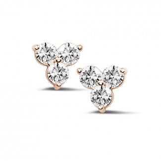 钻石耳环 - 1.20克拉玫瑰金三钻耳钉