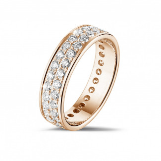 玫瑰金钻石婚戒 - 1.15克拉玫瑰金密镶两行钻石戒指