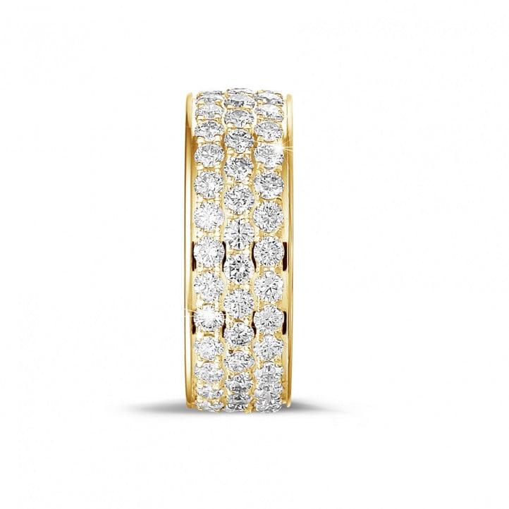 1.70克拉黄金密镶三行钻石戒指