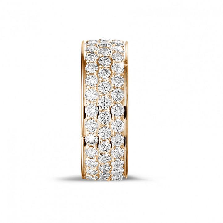 1.70 克拉玫瑰金密镶三行钻石戒指