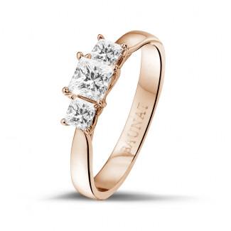 爱情三部曲0.70克拉三钻玫瑰金戒指