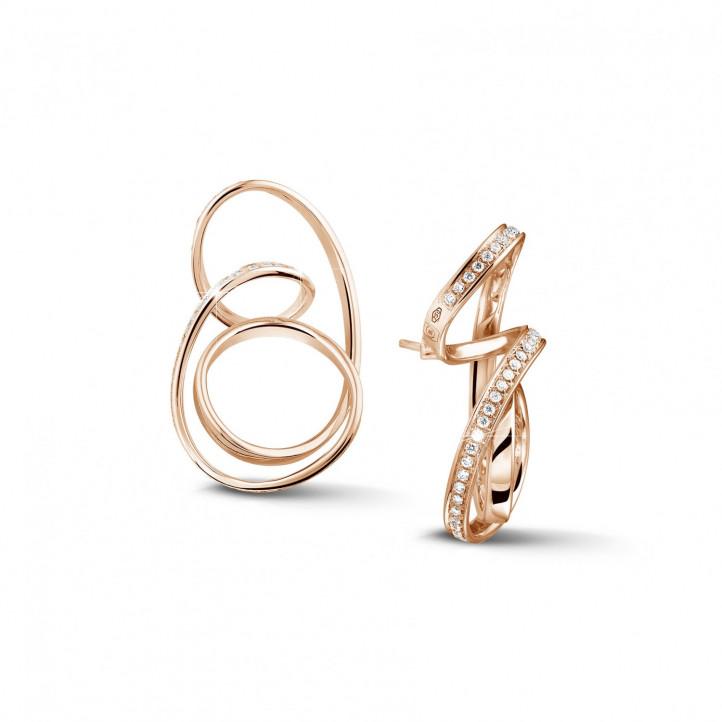 设计系列1.50克拉玫瑰金密镶钻石耳环