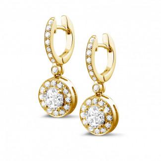 黄金钻石耳环 -  Halo 光环1.55克拉黄金密镶钻石耳环